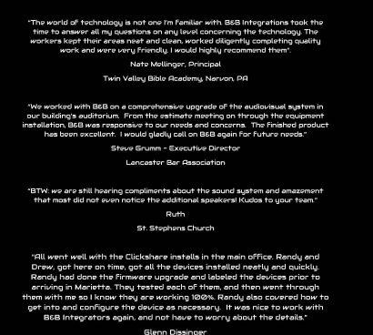 B&B Testimonials